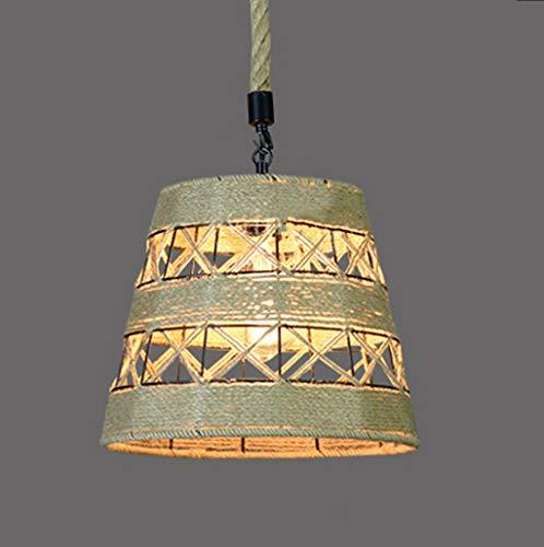 Lámpara retro industrial de cáñamo, cuerda de hierro forjado, restaurante, bar, cafetería, tienda de ropa abrillantadora E27 * 1 (color A).
