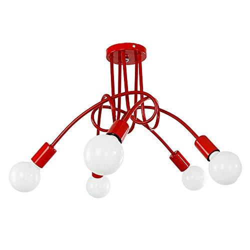 Lampada da Soffitto Moderna Lampada a Sospensione Industriale Vintage Plafoniere Creativa Regolabile Lampadario a 5 Teste Illuminazione Soggiorno Cucina Sala da pranzo Ufficio (Rosso)
