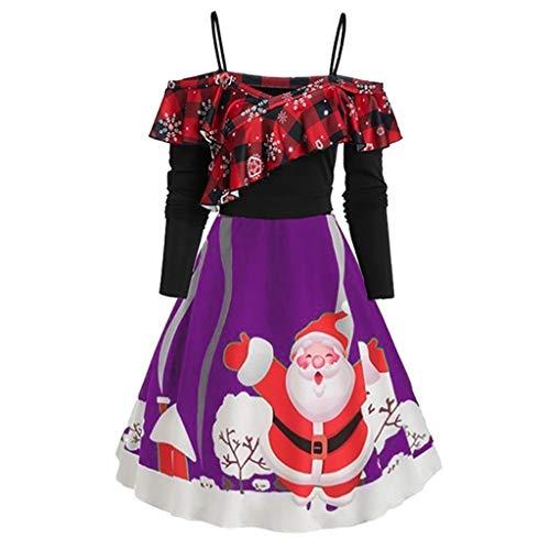 Kviklo vestido de Navidad sin mangas, estilo vintage, tamaño grande