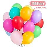 JOJOR 100 Pièces Ballon Couleur Assortiment ,Ballon Multicolore Gonflable de Latex pour Enfant Anniversaire, Mariage, Fêtes