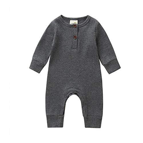Newborn Infant Baby Boys Girls Solid One Piece Knitted Romper Button Bodysuit Ribbed Jumpsuit Fall Winter Outfit Clothes (0-3 Months, BB - Grey)