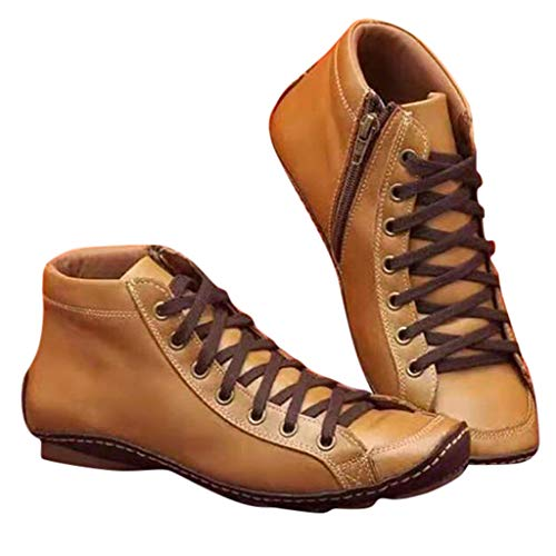 KINGKO Damen Stiefeletten Boots, New Senkfusseinlage Boot,Kunstleder Stiefeletten Herbst Vintage Schnürschuhe Damen Bequeme Flache Fersenstiefel Reißverschluss Kurzer Boot (EU:39, Gelb)