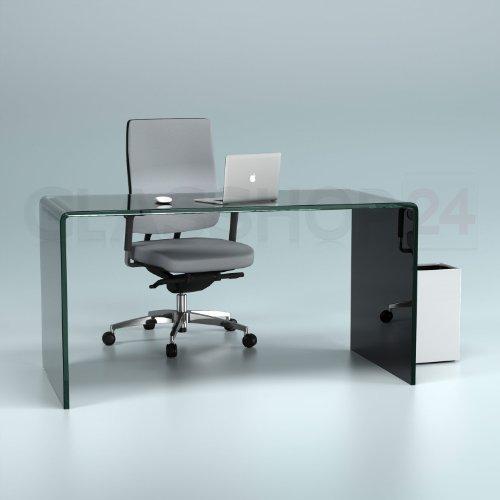 glasshop24 Design Schreibtisch aus 15mm Echtglas (B/T/H) 1400x700x730mm - schwarz
