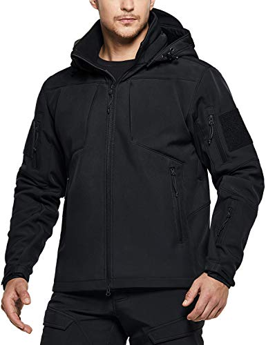 CQR Men's Tactical Softshell Detachable Hoodie Hiking Hunting EDC Lightweight Fleece Coat Jacket, Operator Multipocket(hok803) - Black, XXX-Large