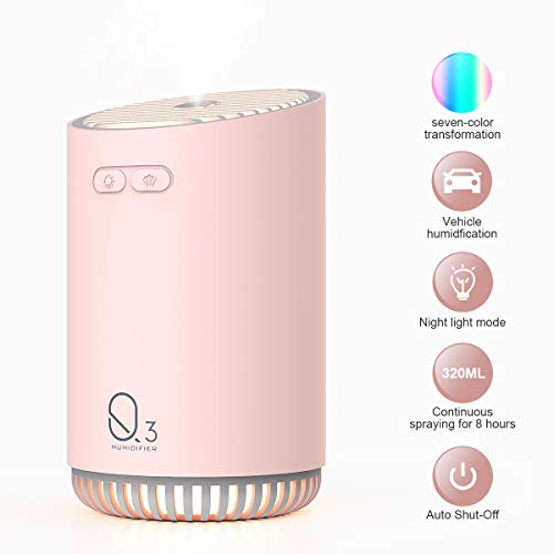 Portable Mini Humidifier,Humidifiers For Babies, Office Desk Humidifier,USB Personal Desktop Humidifier With 7-Color LED Night Light,Quiet Humidifier,Waterless Auto Shut-Off,2 Mist Modes, (pink)