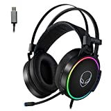 ETWAR USB Gaming Headset for PC - Computer Headphones with 7.1 Surround Sound Stereo Noise Canceling Mic/Microphone RGB Light - Gaming Headphones for PS4/PS5 Console Laptop