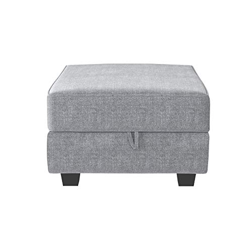 HONBAY Square Ottoman Module for Modular Sectional Sofa, Storage Ottoman Footrest and Seat Cube, Grey