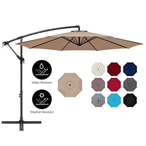 Best Choice Products 10ft Offset Hanging Outdoor Market Patio Umbrella w/Easy Tilt Adjustment - Tan
