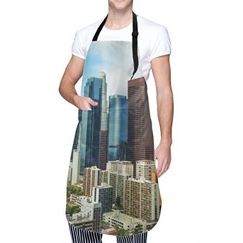 COFEIYISI Delantal de Cocina Los Ángeles, Estados Unidos, América, paisaje urbano en día soleado, coloridos edificios de oficinas, calles, escena Delantal Chefs Cocina para Cocinar/Hornear