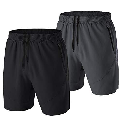 Pantalones Cortos Hombre Running Transpirable Shorts Deportivos Secado Rápido Pantalón Correr con Bolsillo con Cremallera(Negro/Gris,EU-4XL/US-3XL)