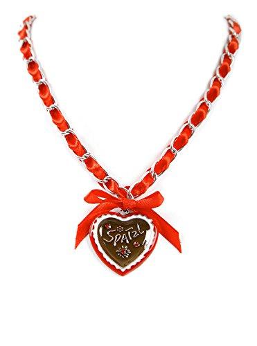 ALMBOCK Trachtenkette Damen Herz rot - Kette Damen Tracht mit Spatzl Herzanhänger - Trachtenkette Herz rot