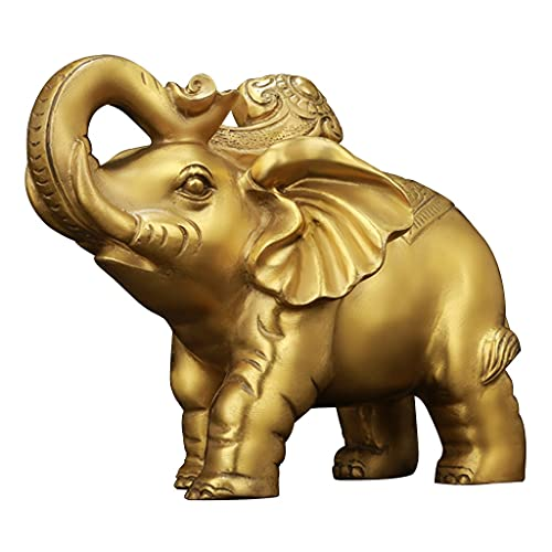 Statues Copper Elephant Ornaments Elephant Statue Figurines Home Decoration Lucky Figurines Living Room Office Decorations Sculptures (Color : Gold, Size : 1168cm)
