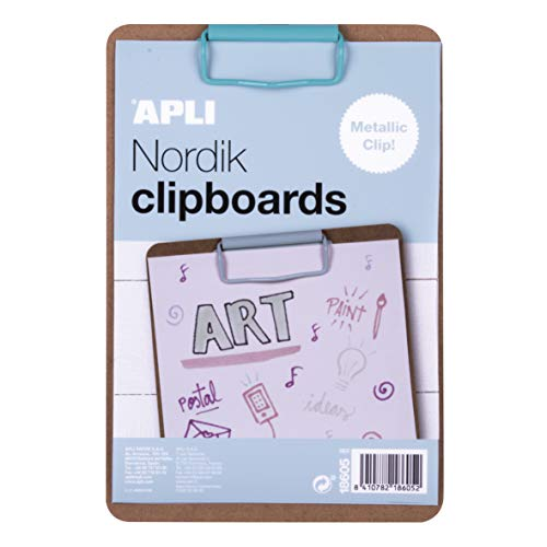 APLI 18605 - Clipboard portablocco legno A5 clip blu -Nordik Collection