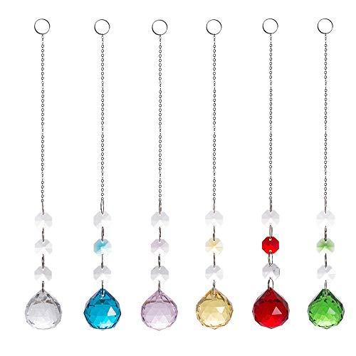6er Sonnenfänger Set K9 Kristall Beleuchtung Kugel achteckige Anhänger Perle DIY Kristall Schmuck Perlen Vorhang