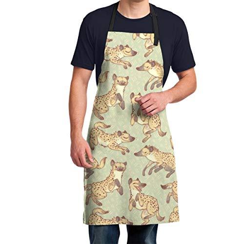 EU Hyänenmuster Frauen Männer Küchenschürze mit verstellbarem Hals wasserdichte Schürzen für Home Restaurant BBQ Grill, 28,3 x 34,6 Zoll