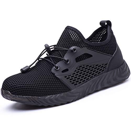 UCAYALI Leichte Arbeitsschuhe mit Kunststoffkappe Arbeitsschuhe Sneaker Herren rutschfeste Stahlkappenschuhe(Mesh Schwarz, 40 EU)