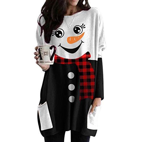 wenyujh Weihnachtspullover Kleider Damen Langarm Sweatshirts Pullover Kleid Weihnachtskleid Party Weihnachten Blusenkleider Mini Kleider(D-1#, 2XL)