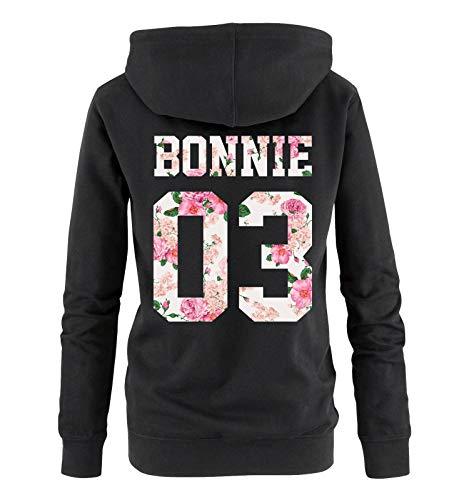 Comedy Shirts - Bonnie 03 - Damen Hoodie - Schwarz/Blumen - Gr. L