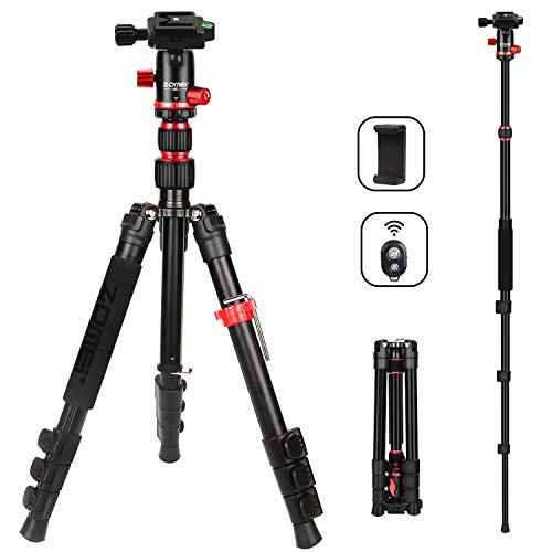 ZOMEi M5 Camera Tripod Lightweight Travel Tripod Monopod 2 in 1 Portable Camera Tripod Stand with 360 Degree Ball Head Remote Bluetooth and Phone Clip Cameras Smartphone
