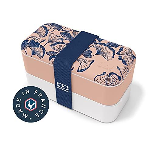 monbento - MB Original Graphic Ginkgo - bento Box Motivo Giapponese Made in France Rosa - Lunch Box con contenitori ermetici 2 Livelli - Porta Pranzo Ideale per Ufficio/Scuola/Meal Prep - Senza BPA