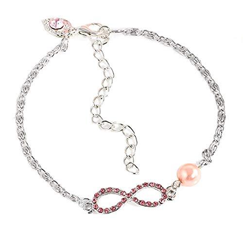 Armband - lichtpunten - armband - oneindig - glitter - parel - roze - meisjes - vrouw - meisje - zilveren kleur - feest cadeau idee - sieraden strass
