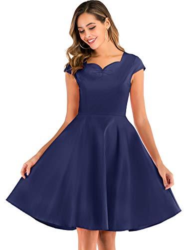 Bbonlinedress Vintage Cocktailkleid Abendkleid Kurzarm V-Ausschnitt Kleid Kleider Sommerrock Sommerkleid Knielang Rot Partykleid Navy 3XL