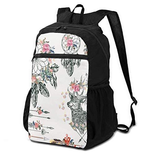 Damen-Wanderrucksack, farbenfroh, psychedelischer Traumfedern, Reiserucksack, Damen-Wandertasche, leicht, wasserdicht, für Damen und Herren, Camping