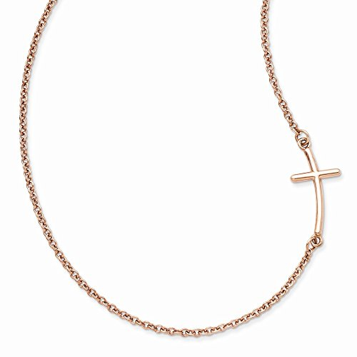 925 Sterling Silver Rose Gold Plated Large Sideways Curved Cross Religious Chain Necklace Pendant Charm Crucifix Fine Jewelry Gifts For Women For Her