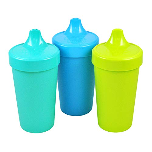 Re-Play Made in USA 3pk No Spill Sippy Cups for Baby, Toddler, and Child Feeding in Sky Blue, Lime Green and Aqua | Made from Eco Friendly Recycled Milk Jugs - Virtually Indestructible (Under The Sea)