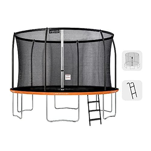 Greaden - Tappeto elastico da giardino per esterni, set completo + rete cuscino di protezione tappeto di salto + scala Ø 366 cm