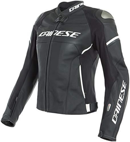 Dainese Racing 3 Lady D-Air® Airbag Damen Motorrad Lederjacke Schwarz/Weiß 42