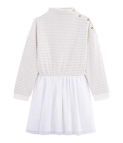 Petit Bateau Mädchen Robe ML_4958601 Kleid, Mehrfarbig (Marshmallow/or 01), 98 (Herstellergröße: 3ans/95cm)