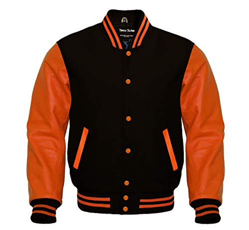 Varsity Black Wool and Genuine Orange Leather Sleeves Letterman Jacket (XL, Black/Orange)