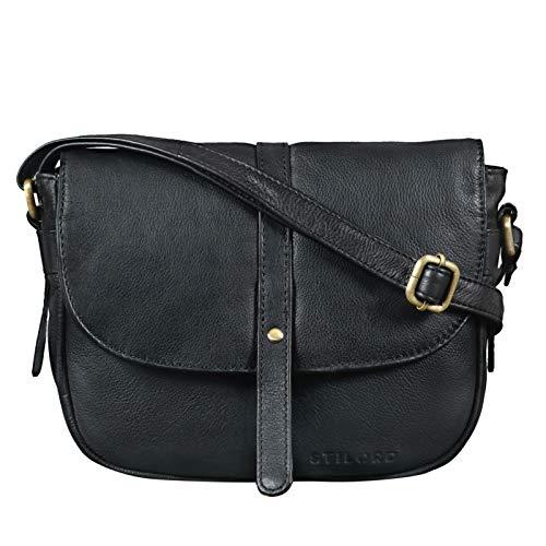 STILORD 'Clara' Kleine Umhängetasche Frauen Leder Vintage Handtasche zum Ausgehen Klassische Abendtasche Partytasche Freizeittasche Echtleder, Farbe:schwarz