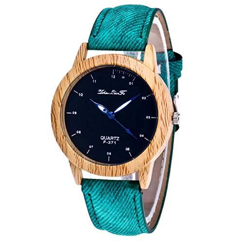 Damen Herren Armbanduhr, einfache Uhr mit Zifferblattgehäuse aus Holz und helle Farbschlaufe für Unisex(Grün)