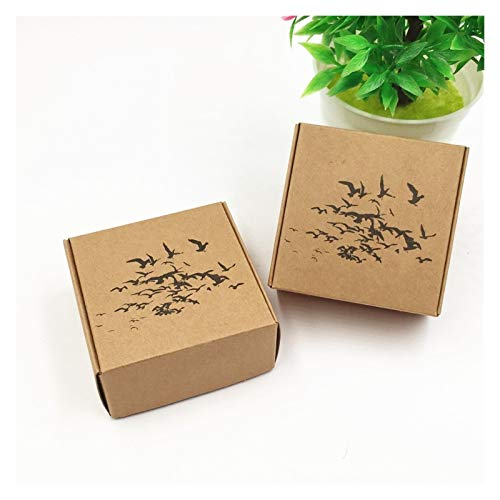 Bigbarry Encantador 1000pcs / Lote 6.5 * 6.5 * 3 cm Caja de Embalaje de la Caja de Papel de Kraft marrón para la Caja de Caramelo de la joyería de Crema Facial Popular