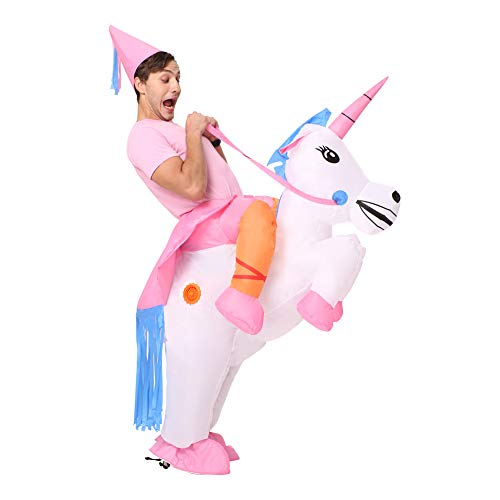 Decalare Inflatable Unicorn T-REX/Horse/Sumo Wrestler Wrestling Suits Costume Halloween Party Blow up Costumes Adult/Kids (Adults-Unicorn)