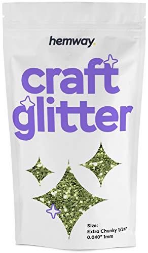 Hemway Craft glitter 100g extra grosso 1/61cm 0,1cm 1mm, OLIVE, EXTRA CHUNKY 1/24' 0.040' 1MM