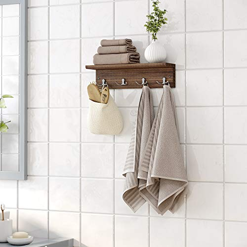 Brown Wall-mounted Coat Rack with Hooks