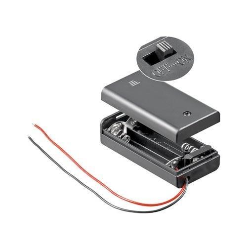 CABLEPELADO Portapilas para 2 Pilas LR6 AA con Interruptor Negro
