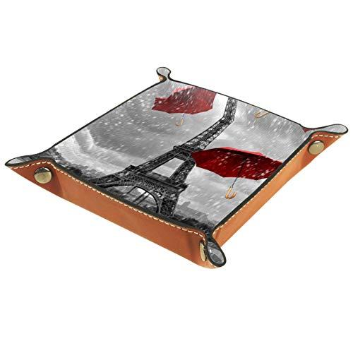 Caja de almacenamiento pequeña, bandeja de valet para hombre,paraguas de la torre Eiffel de París,Organizador de cuero para llaves de caja de monedas