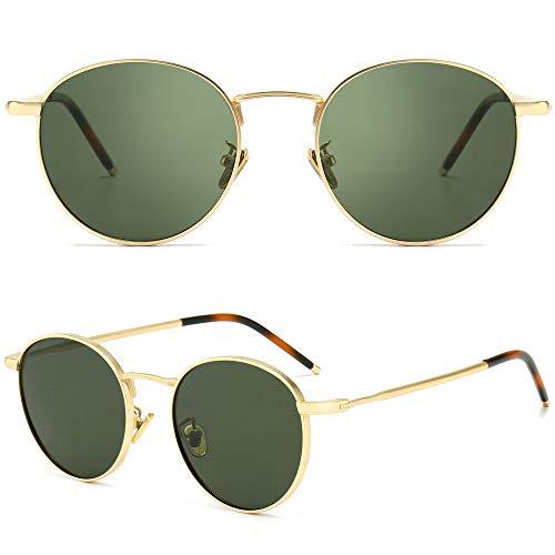 SUNGAIT Gafas de Sol Polarizadas Vintage Redondas Marco de Metal Retro Clásica Gafas de Sol Circular para Mujer Hombre-SGT059(Marco Oro/Lente Polarizada Verde)