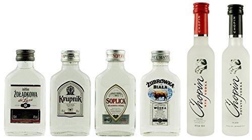Geschenkset Klare Wodkas Mini | Polnische Wodkas | 4 x 0,1 Liter, 2 x 0,05 Liter