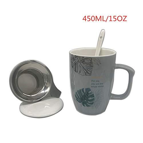 SidiOutil Teetasse mit Filter, Deckel und Löffel, Teebecher mit Sieb,Porzellanteebecher 15 OZ / 450 ML, Reisetee mit Aufguss, Keramikbecher für Tee/Kaffee/Milch/Frauen/Büro/Zuhause/Geschenk