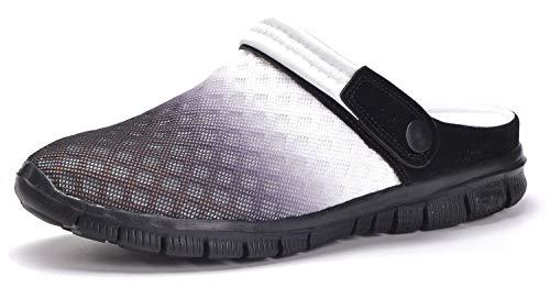 Unisex Clogs Hausschuhe Muffin Unten Alltägliche Drag Pantolette Sommer Beach Schuhe Sandalen für Damen Herren, Schwarz Weiß, 41 EU