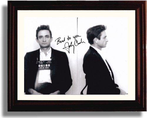 Framed Johnny Cash Autograph Replica Print