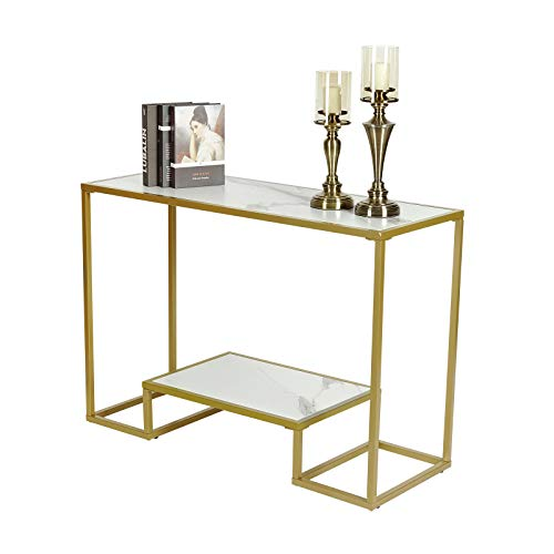 Modern Console Table, Entryway Table, MDF Wooden Top with White Marble Finish, Sofa Table with Storage Metal Gold Frame for Living Room, Hallway, Corridor CO1009-WH