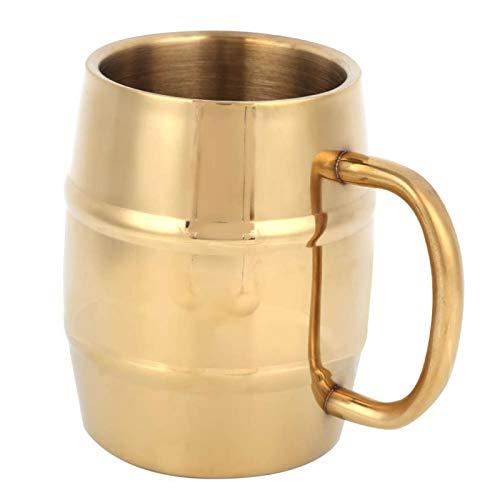 Taza de cerveza de 10 oz/300 ml con asas, tazas de acero inoxidable dorado, jarra de cerveza, taza de café de doble pared, vaso de agua, tazas de té