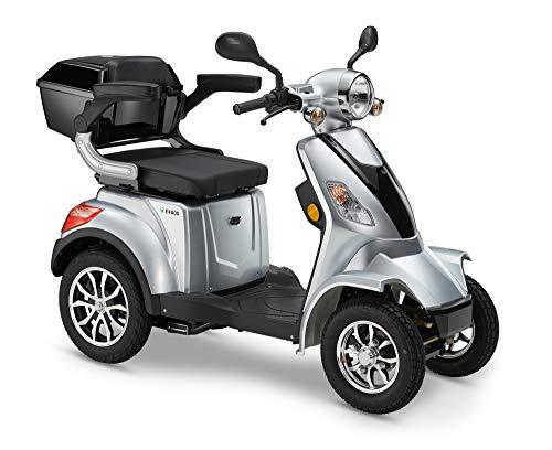 Elektroroller LuXXon E4800 - Elektromobil für Senioren mit 1000 Watt, max. 20 km/h, Reichweite bis zu 55 km, silber