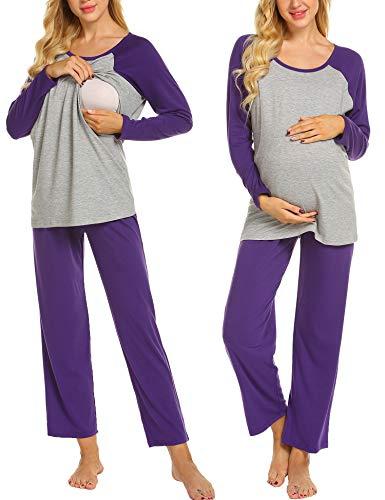Ekouaer Damen Umstandpyjama Set Langarm Klassische Nachtwäsche für Schwangere Zweiteiliger Schlafanzug Negligee Lila M